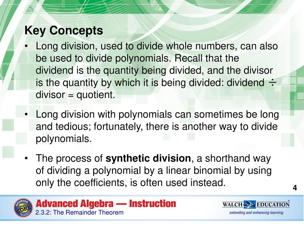 Introduction In Mathematics The Word Remainder Is Often Used In