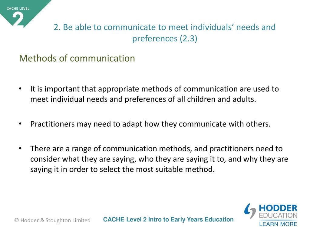 range of communication methods