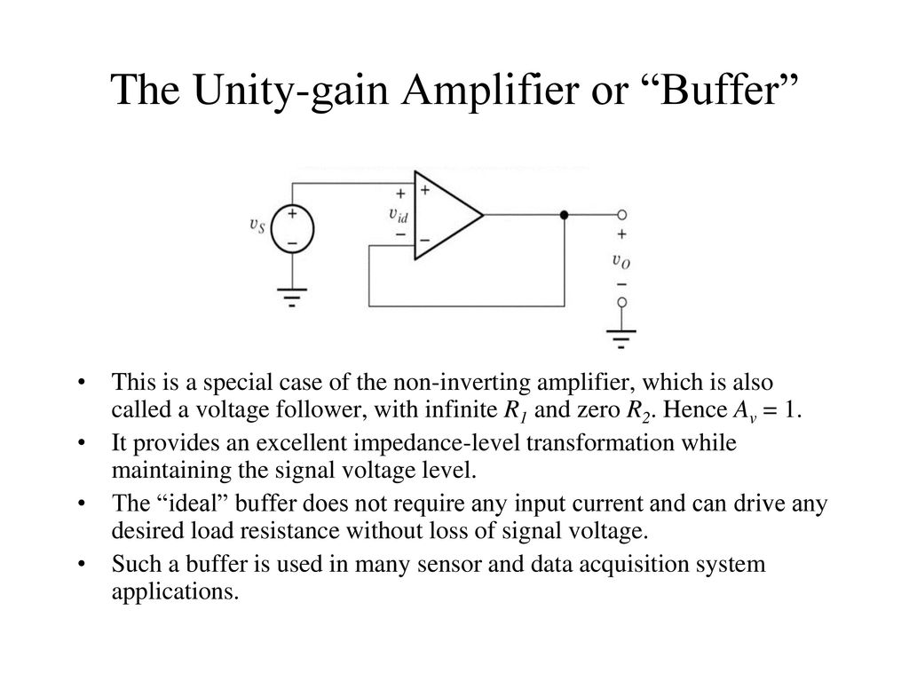 Bioelectronics 1 Lec 9 Op Amp Applications By Ppt Download Application Inverting Amplifier The Unity Gain Or Buffer