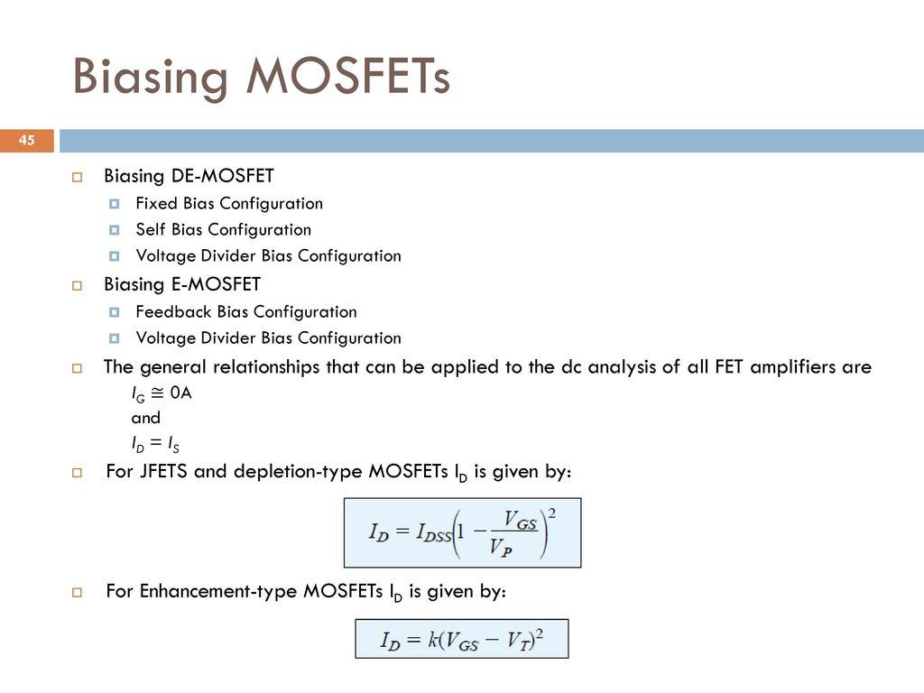 Analog And Digital Electronics Ppt Download Demosfet Depletion Enhancement Mosfet Biasing Mosfets De E