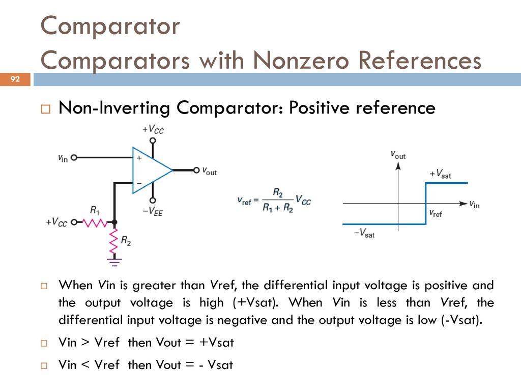 Below This Circuit Creates A Noninverting Comparator With Hysteresis Analog And Digital Electronics Ppt Download Comparators Nonzero References