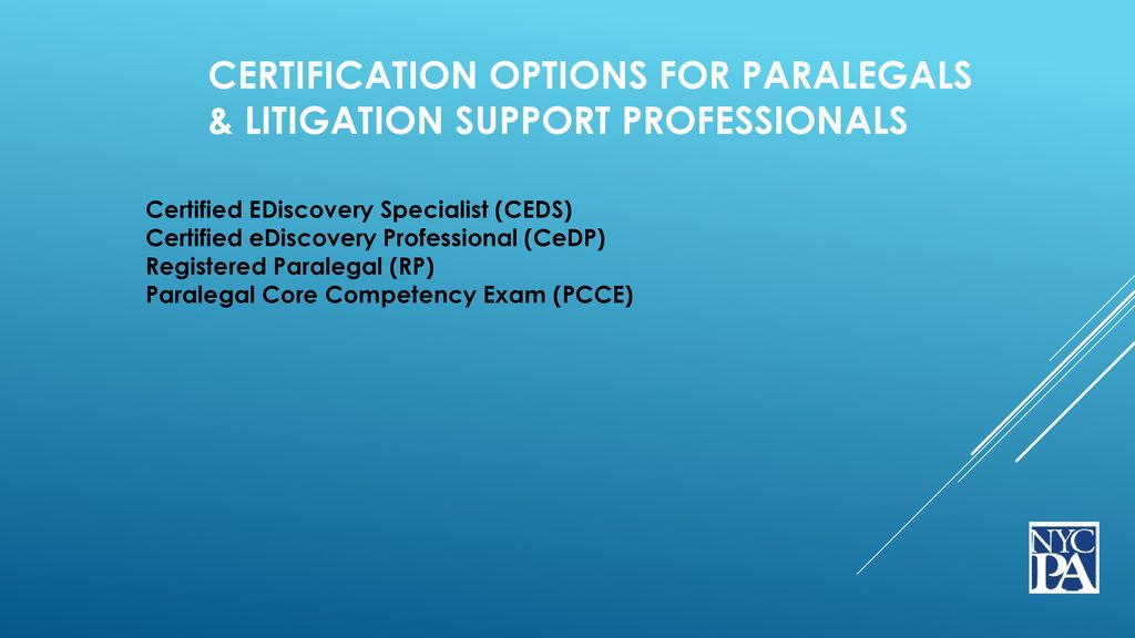 Certification For Paralegals Litigation Support Professionals