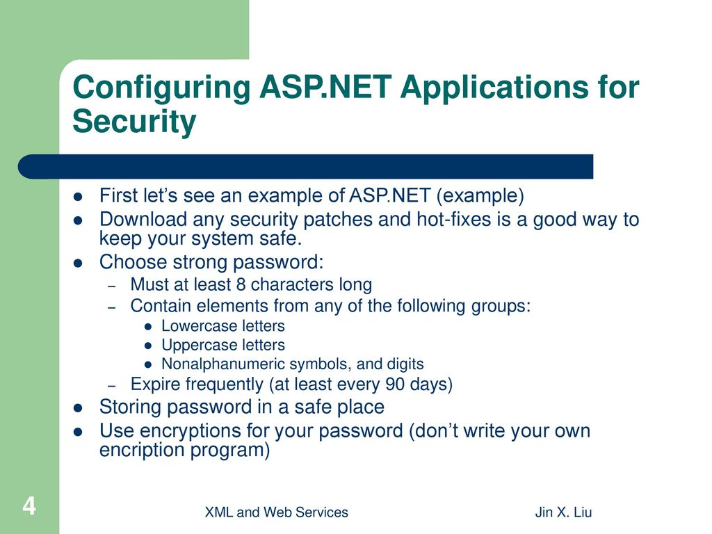 Configuring ASP.NET Applications for Security
