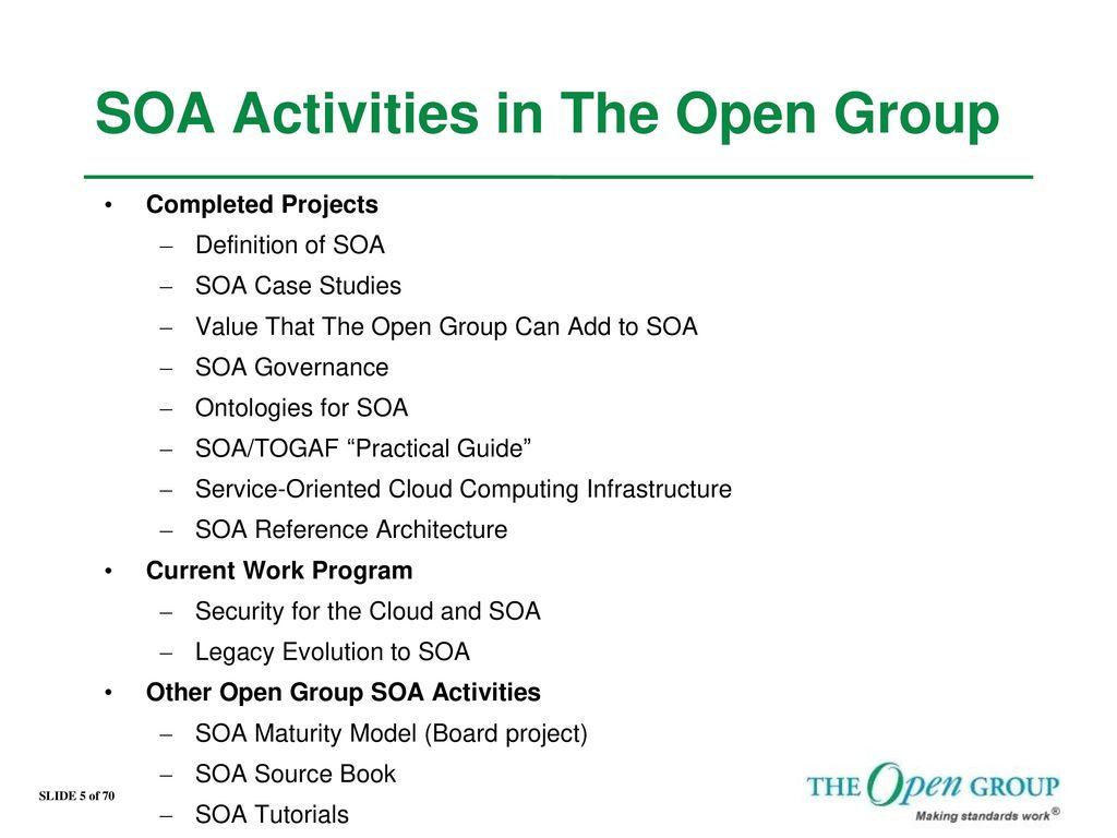 SOA Activities in The Open Group