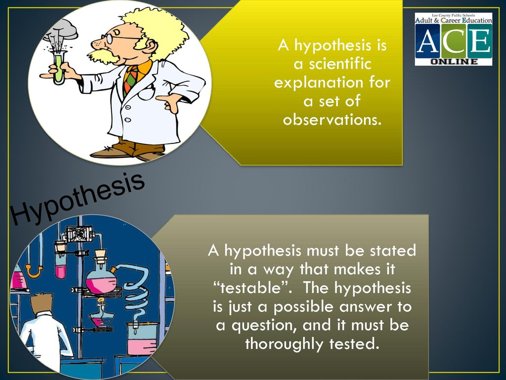 A hypothesis is a scientific explanation for a set of observations.