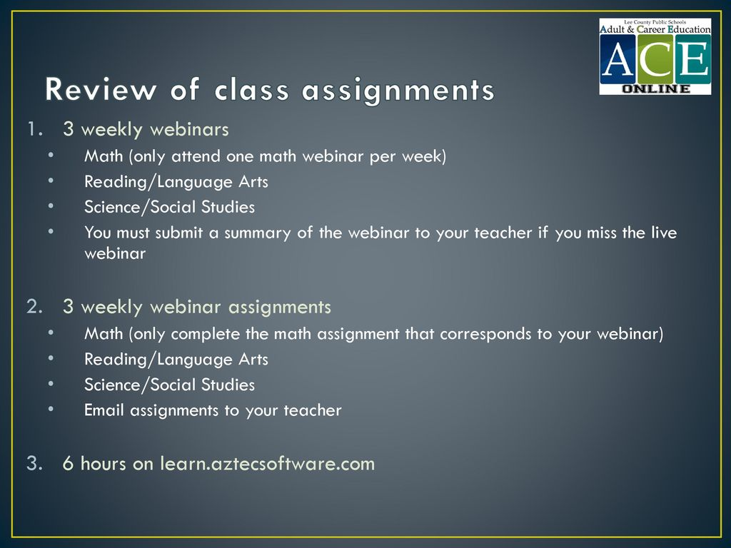 Review of class assignments