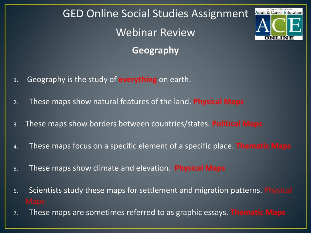 GED Online Social Studies Assignment
