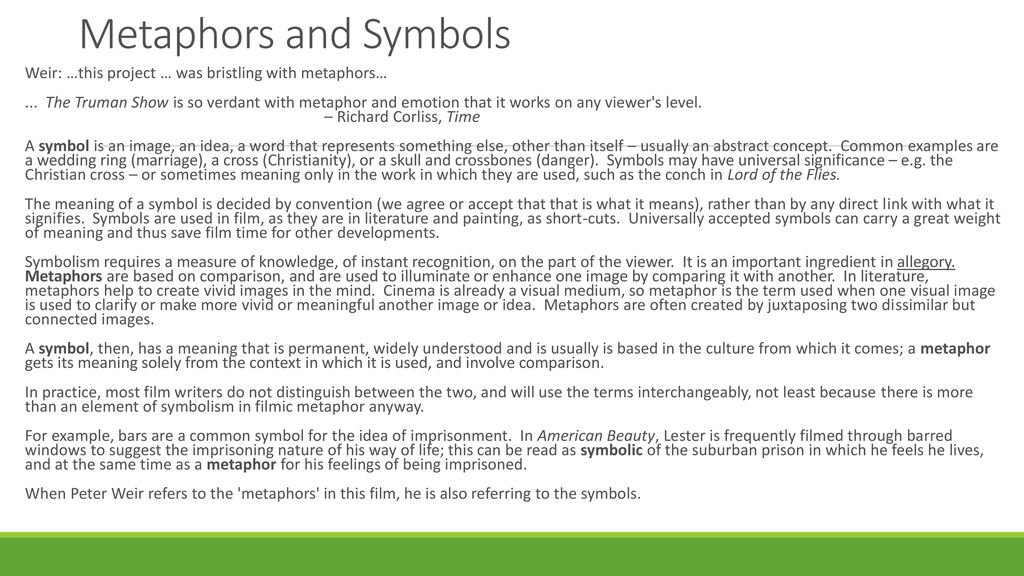 Metaphors And Symbols Weir This Project Was Bristling With