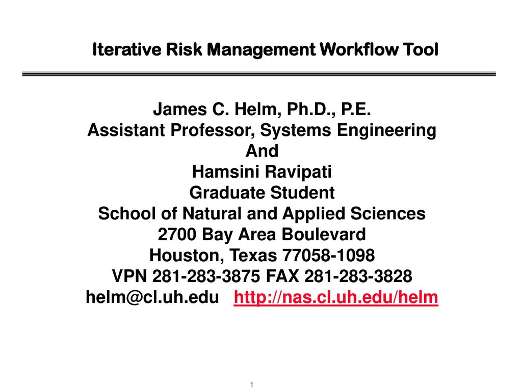 Iterative Risk Management Workflow Tool - ppt download