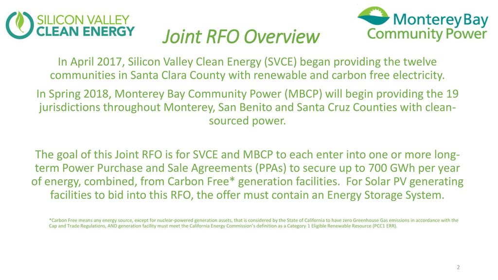 Carbon Free Energy with Storage 2017 JOINT REQUEST FOR OFFERS - ppt