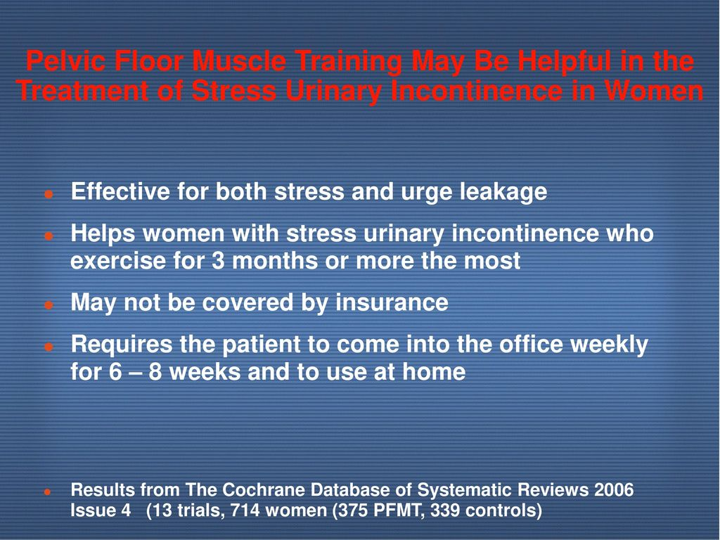 Pelvic Floor Muscle Training May Be Helpful in the Treatment of Stress Urinary Incontinence in Women