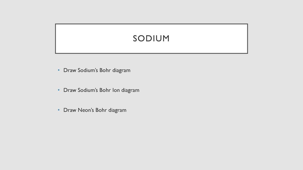 Grade 9 chemistry review ppt download sodium draw sodiums bohr diagram draw sodiums bohr ion diagram ccuart Images
