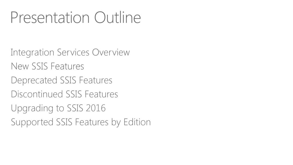 What's New in SQL Server 2016 Integration Services - ppt