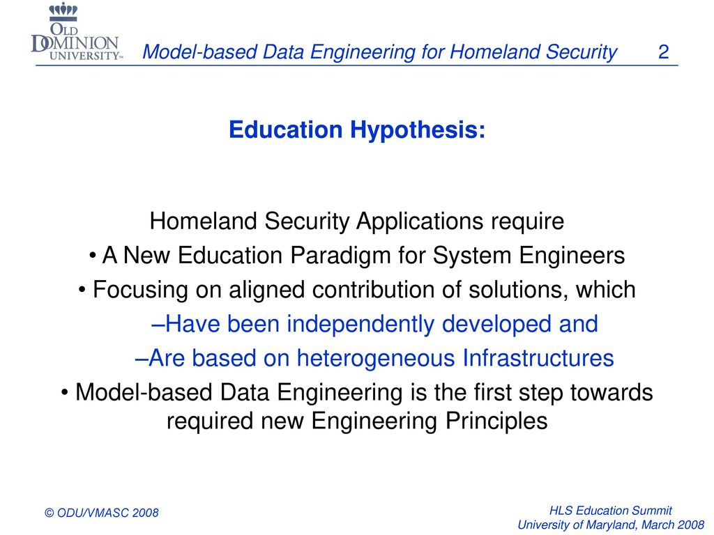 Model-based Data Engineering for Homeland Security