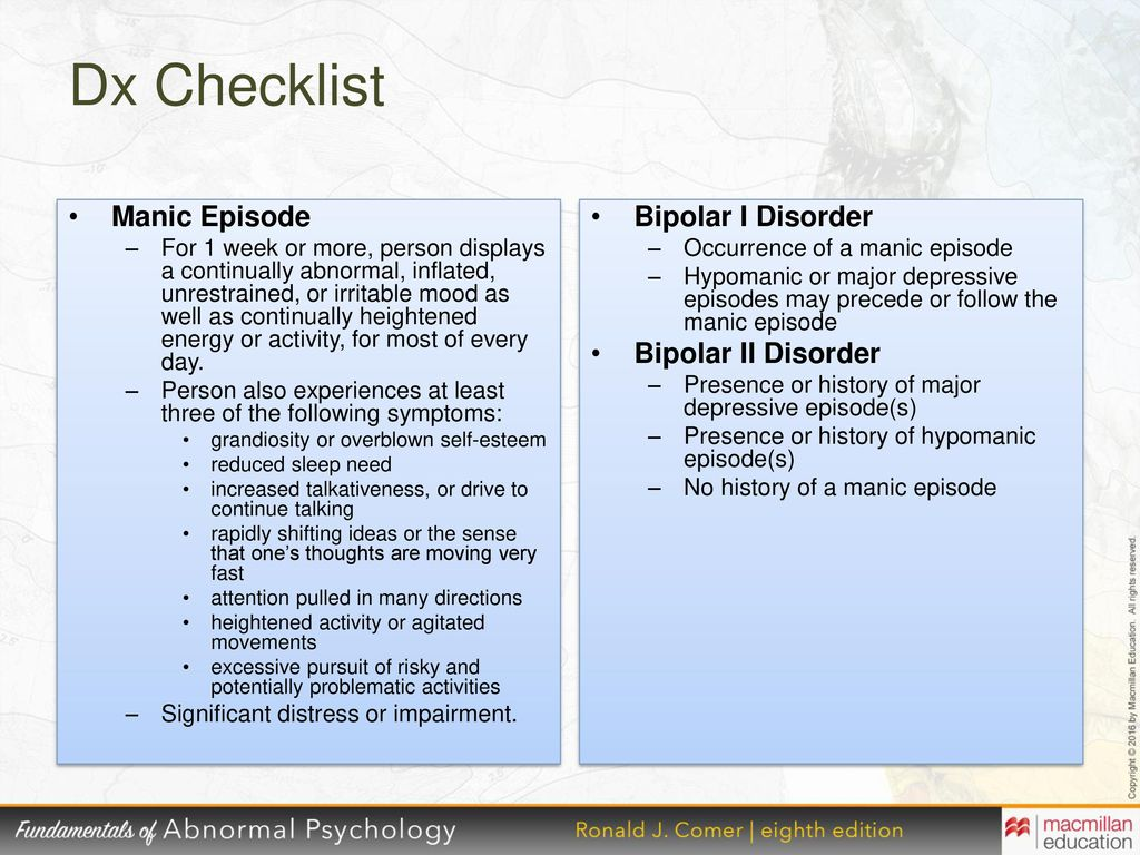 the characteristics of bipolar disorder and modes Bipolar disorder is thought to be a neurobiological disorder in a specific part of the brain and is due to a malfunction of certain brain chemicals, including the cause of bipolar disorder is not entirely known genetic, neurochemical, and environmental factors probably interact at many different levels.