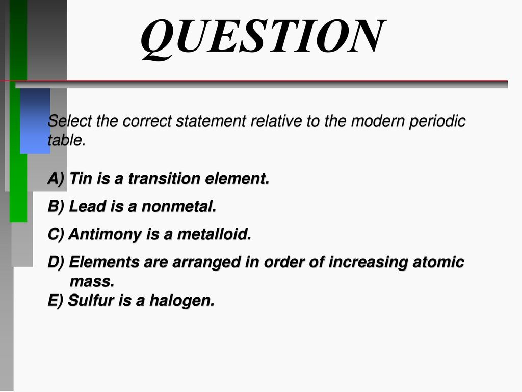 Atoms molecules ions ppt download question select the correct statement relative to the modern periodic table a tin is urtaz Gallery