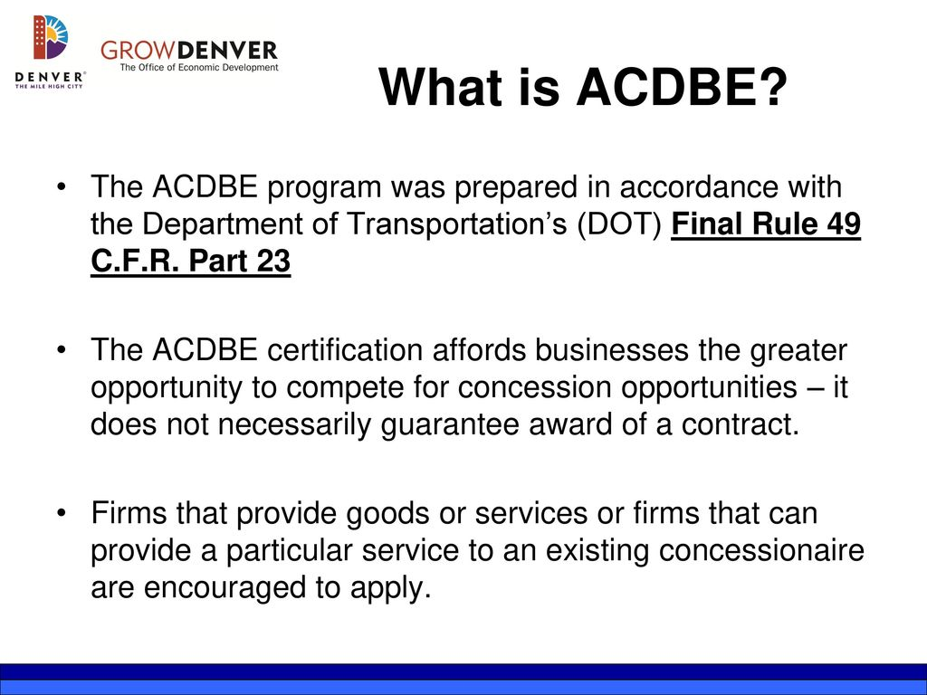 Acdbe Concessions Presented By Ppt Download