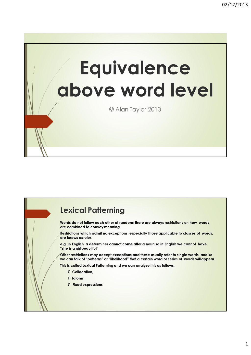 Lexical compatibility of words