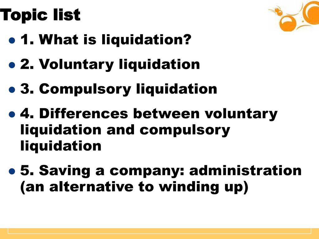 What is liquidation? 54