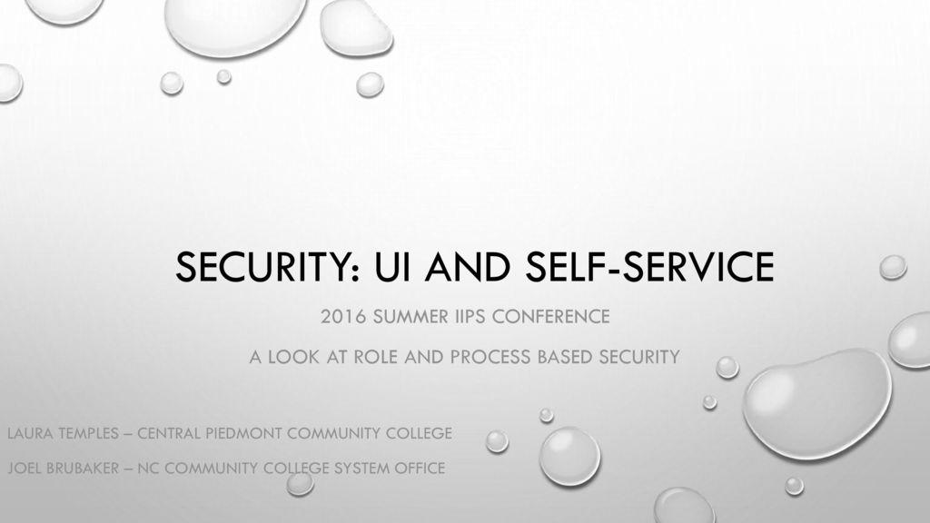 security ui and self service