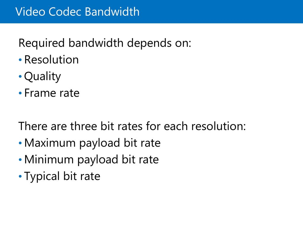 Required bandwidth depends on: Resolution Quality Frame rate
