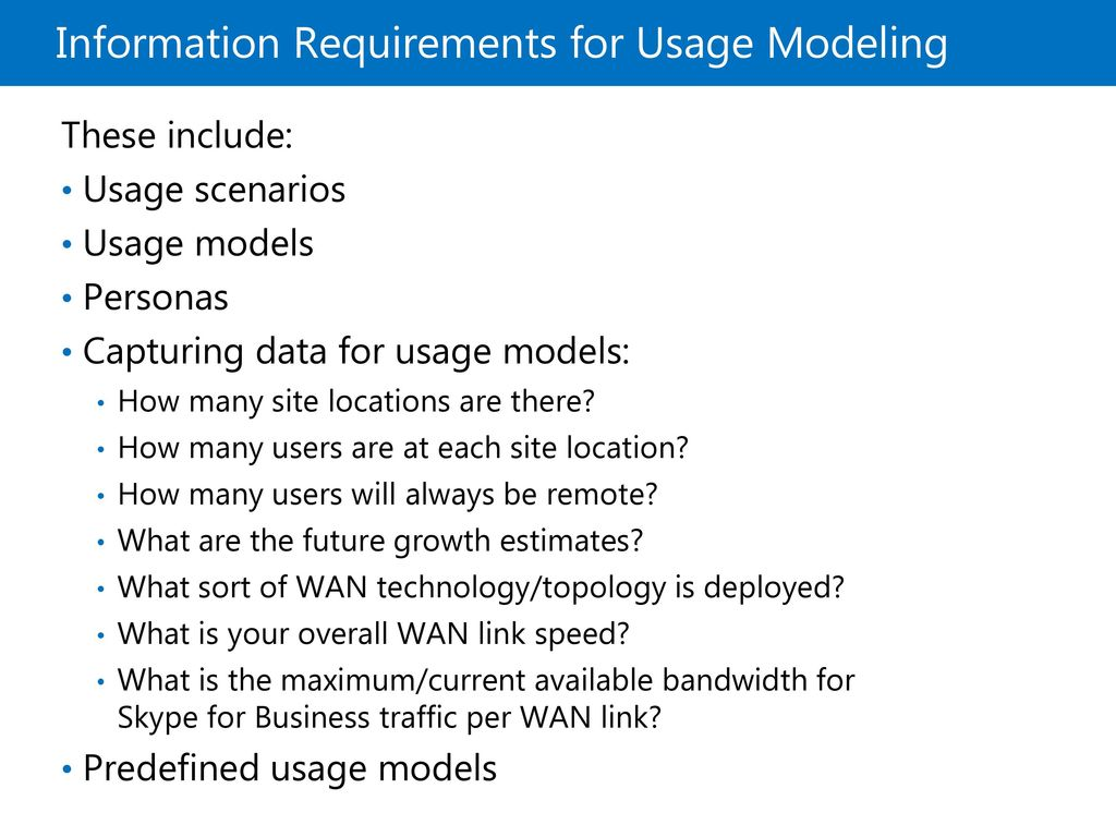 Information Requirements for Usage Modeling