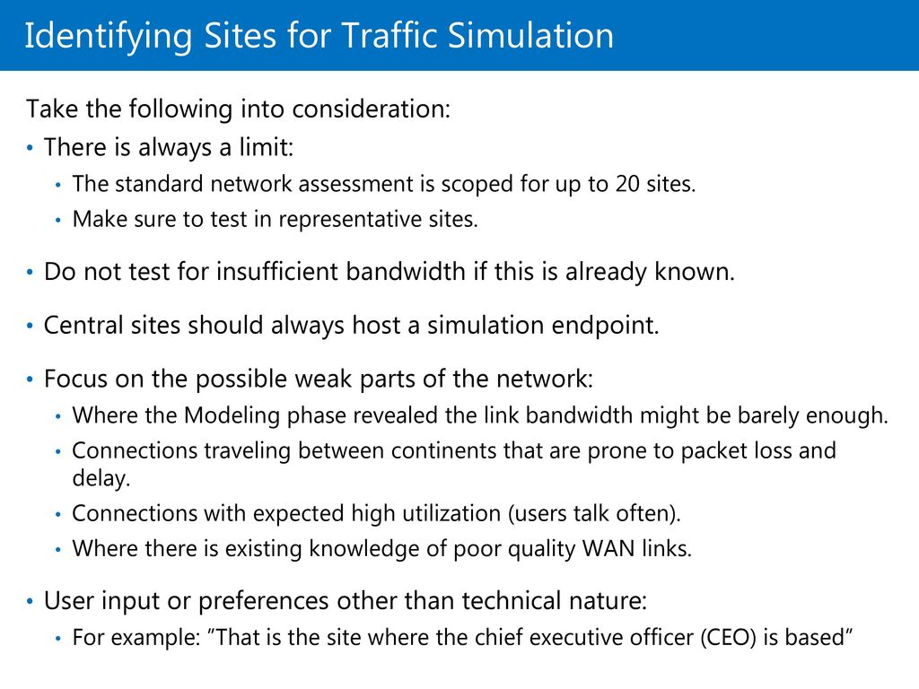 Identifying Sites for Traffic Simulation