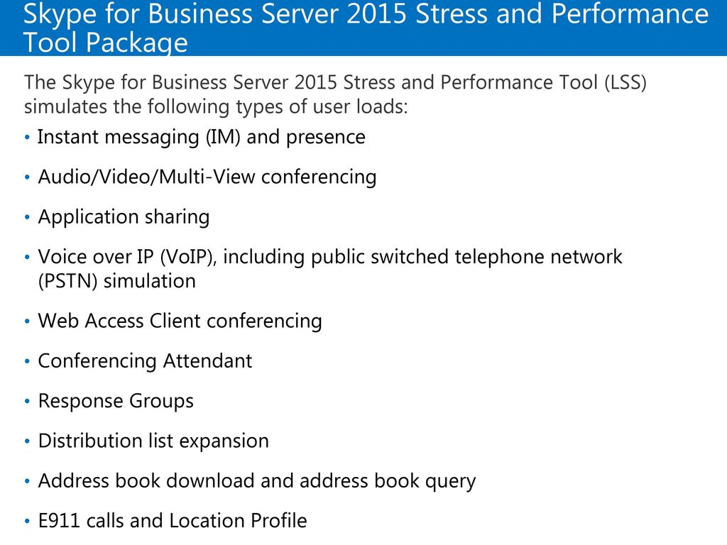 Skype for Business Server 2015 Stress and Performance Tool Package