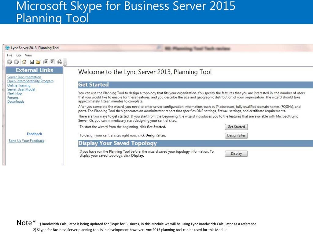 Microsoft Skype for Business Server 2015 Planning Tool