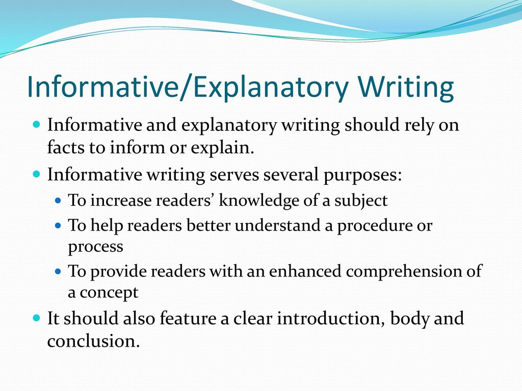 How to write an explanatory