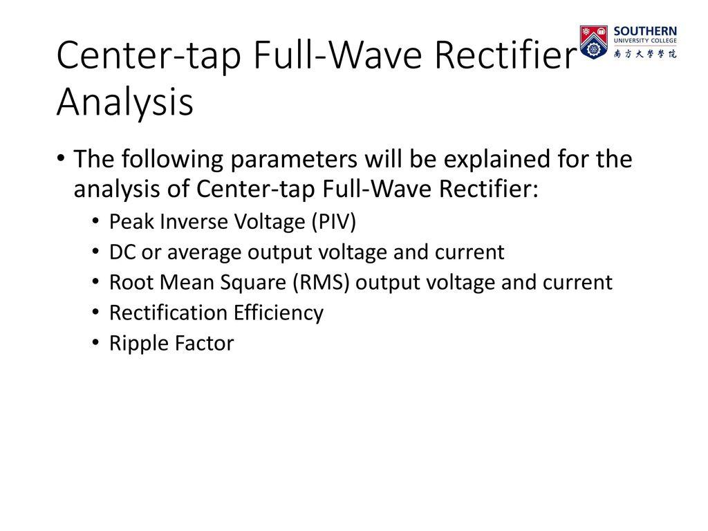 Ripple Factor Center Tapped Full Michaelieclark Centre Tap Wave Rectifier Bridge Circuit 22
