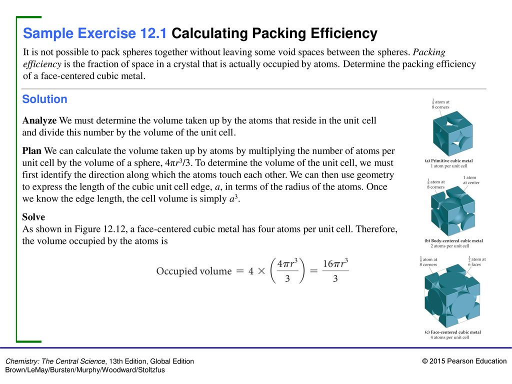 Sample Exercise 12 1 Calculating Packing Efficiency - ppt