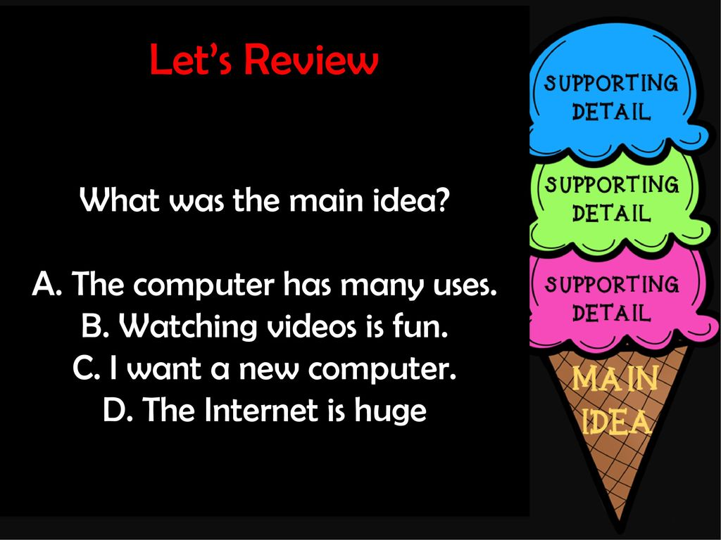 Each Supporting Detail Helps Explain Or Prove The Main Idea Ppt