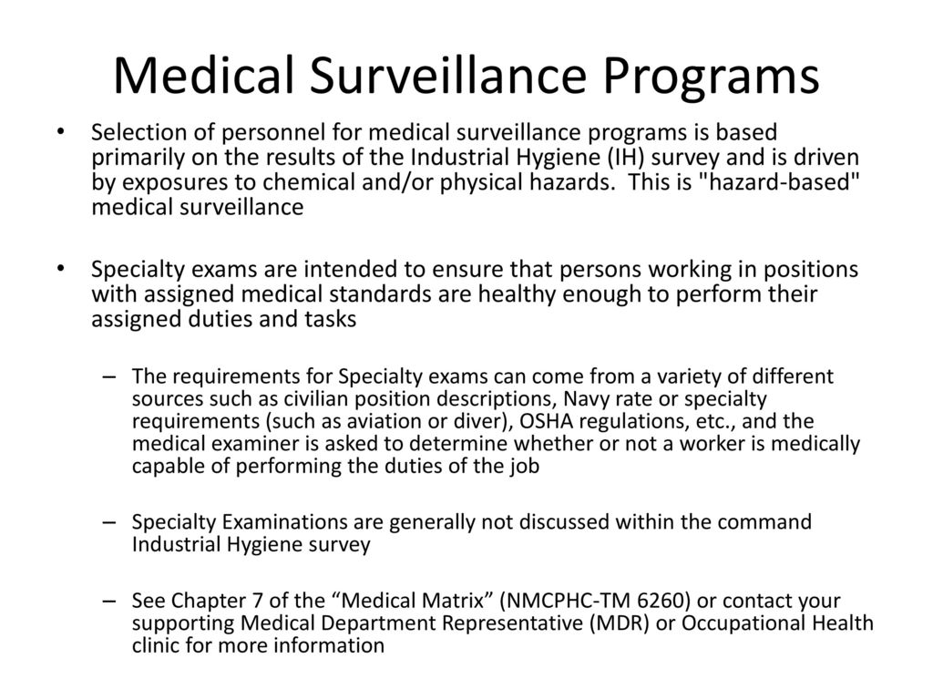 Medical Surveillance Exam Completion Report Instructions - ppt download