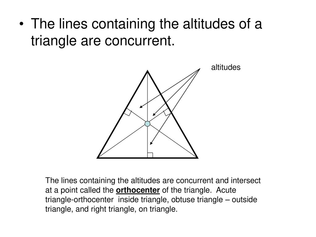 Ch 5 Goals And Common Core Standards Ms Helgeson Ppt Download Diagram 6 Orthocentre Point Generation The Lines Containing Altitudes Are Concurrent Intersect At A Called Orthocenter Of Triangle Acute Inside