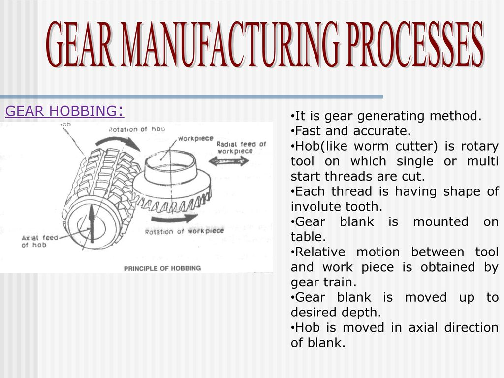 GEAR MANUFACTURING PROCESSES - ppt download
