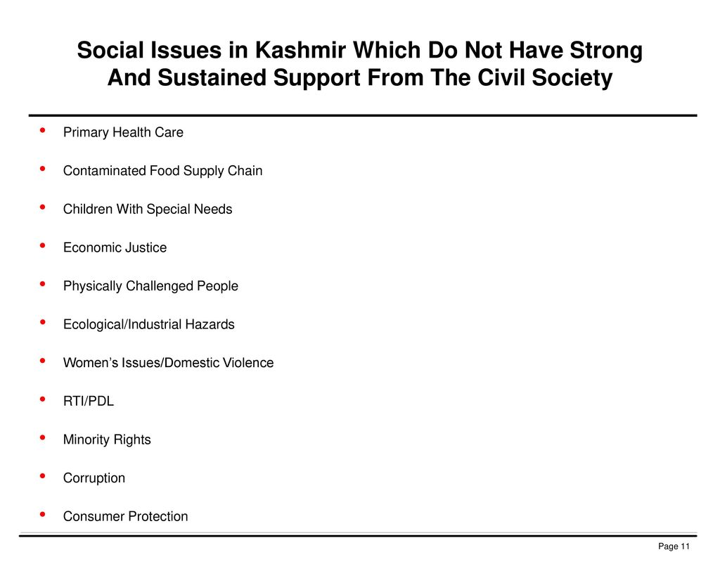 Social Issues in Kashmir Which Do Not Have Strong And Sustained Support From The Civil Society
