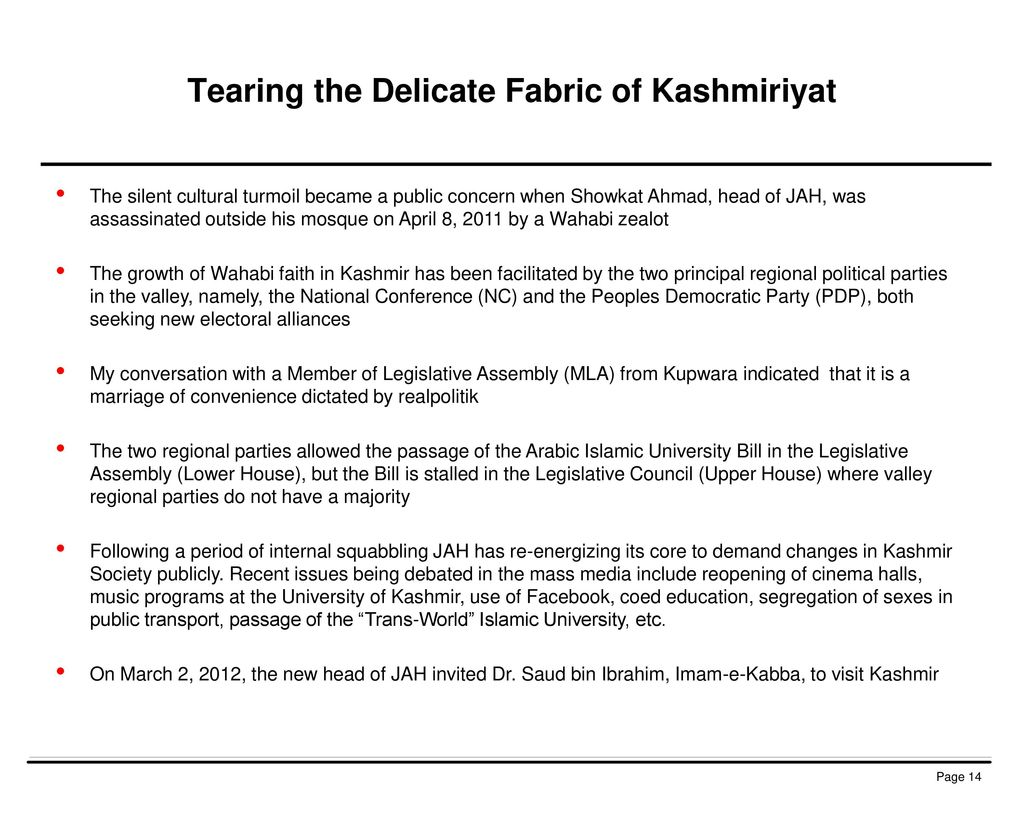 Tearing the Delicate Fabric of Kashmiriyat
