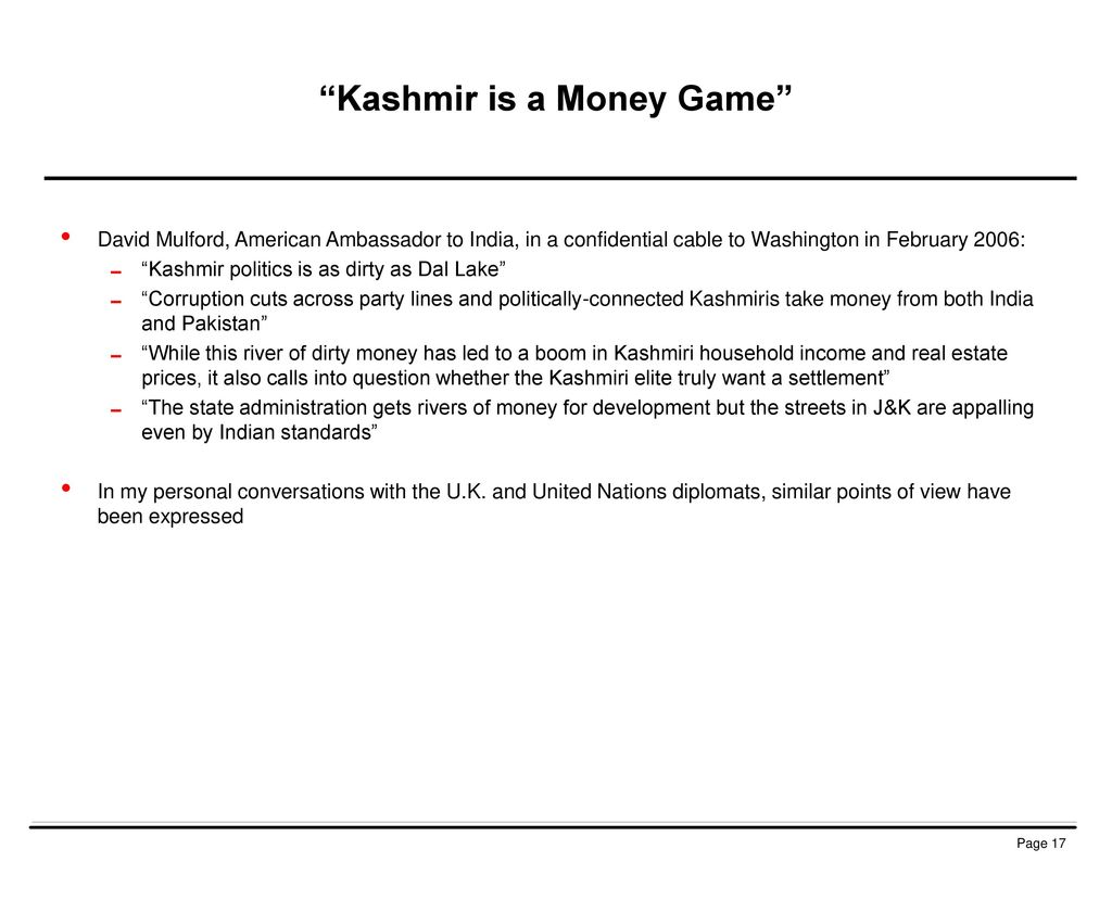 Kashmir is a Money Game