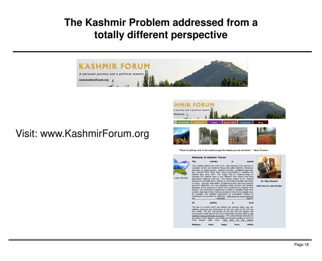 The Kashmir Problem addressed from a totally different perspective
