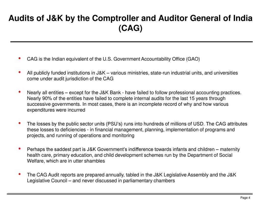 Audits of J&K by the Comptroller and Auditor General of India (CAG)
