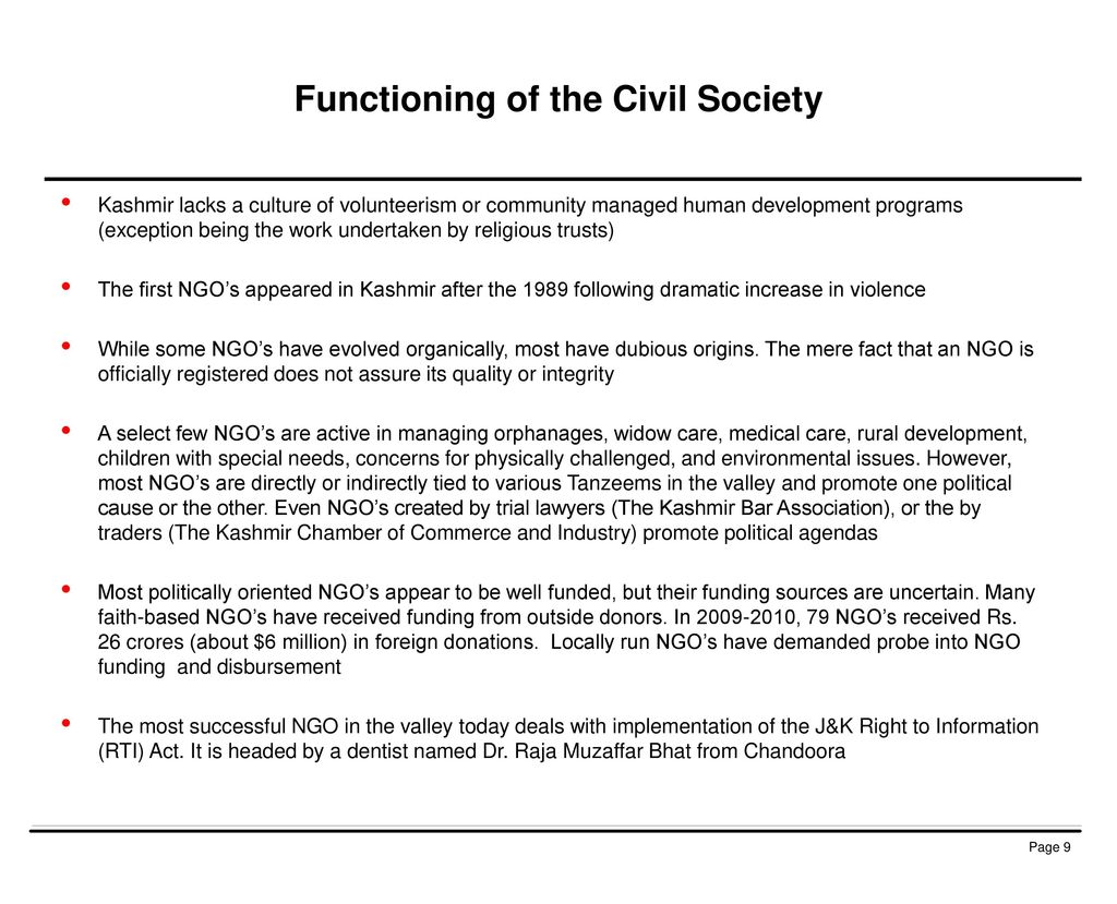 Functioning of the Civil Society