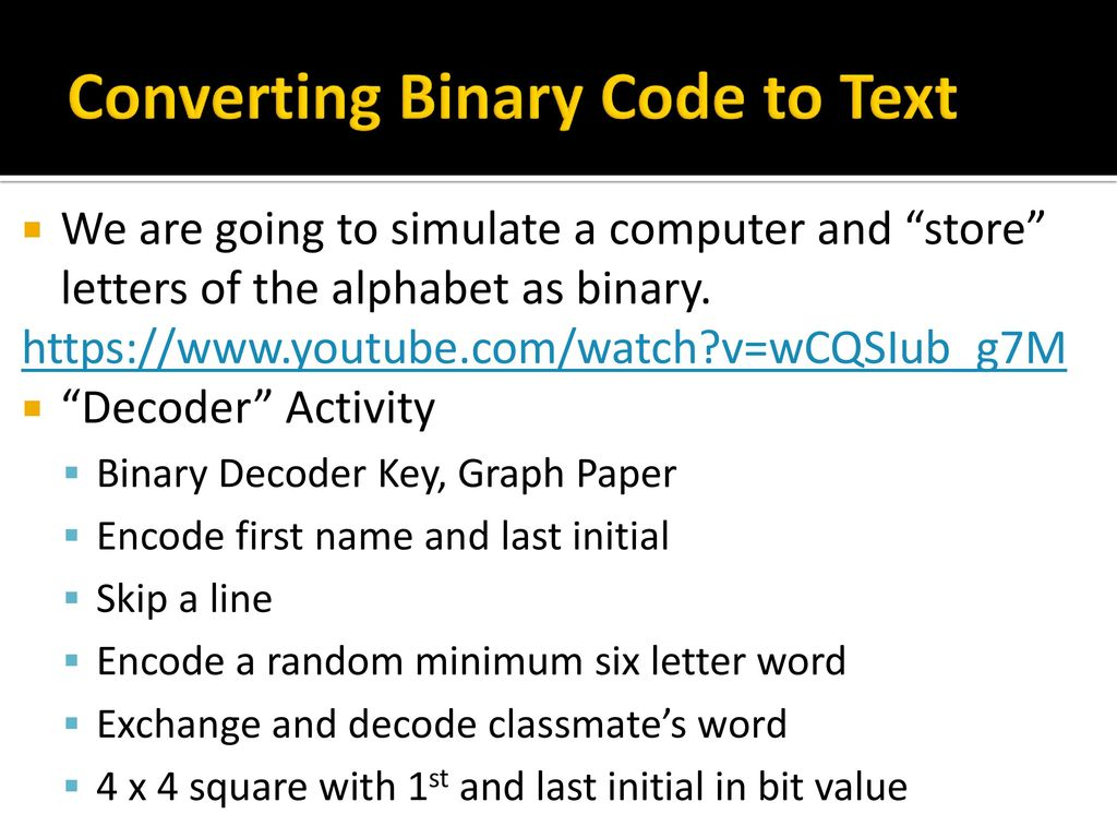 The Art Of Computational Thinkingbinary Code Ppt Download