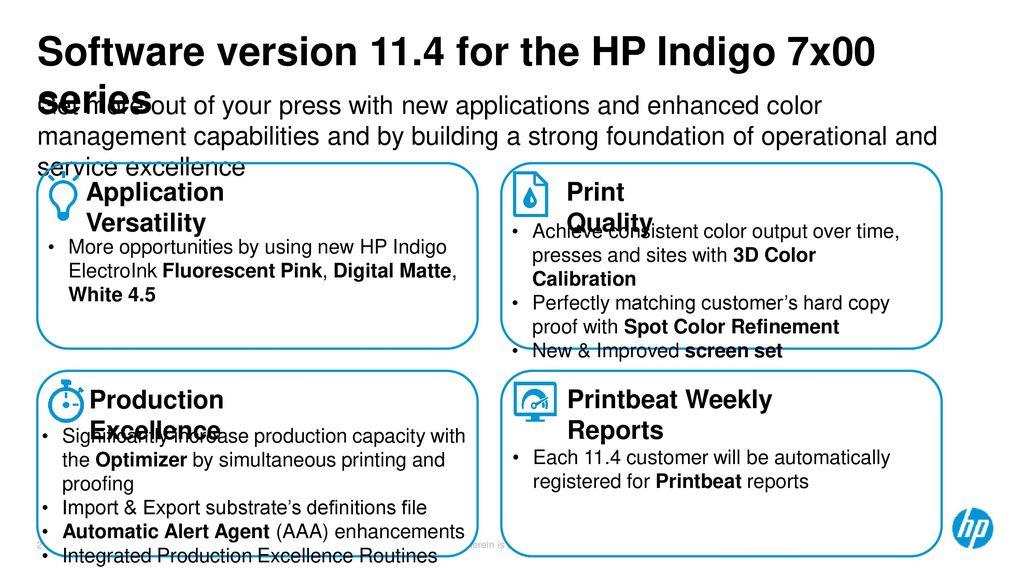 Software version 11 4 HP Indigo 7r Digital Press HP Indigo