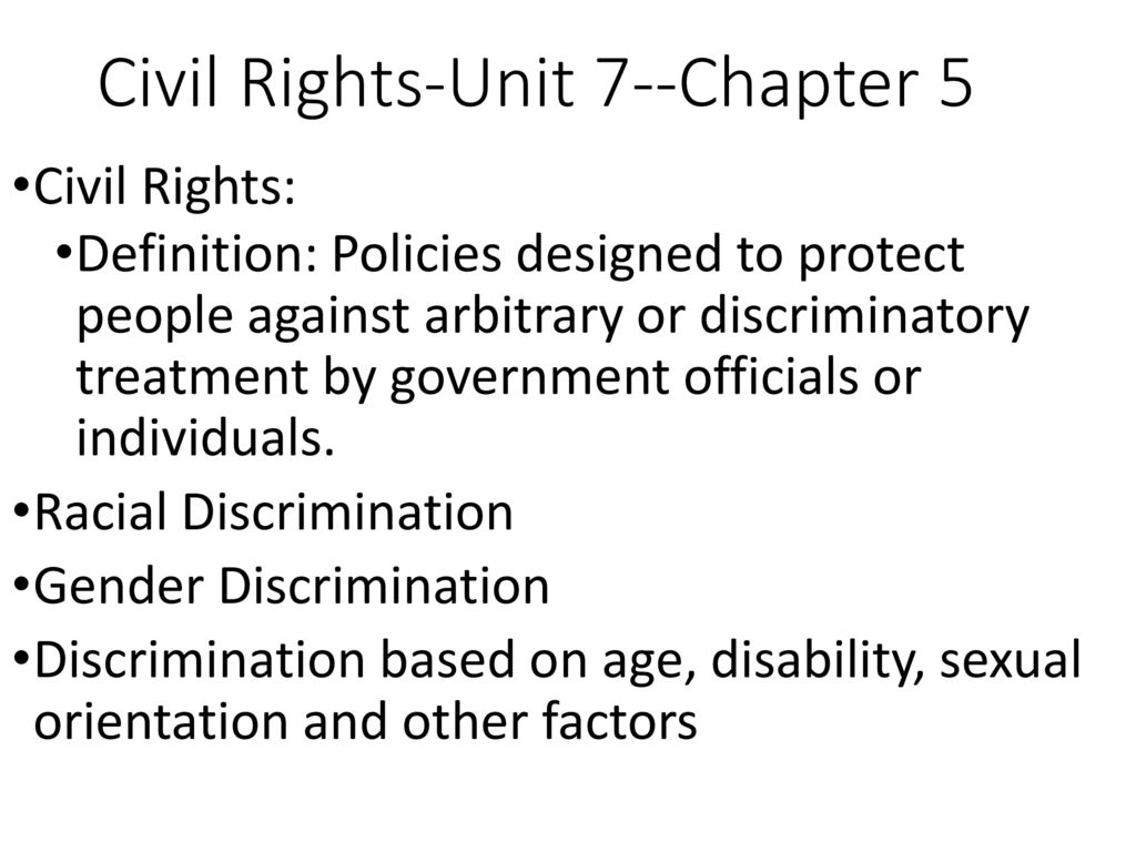 civil rights-unit 7--chapter 5 - ppt download
