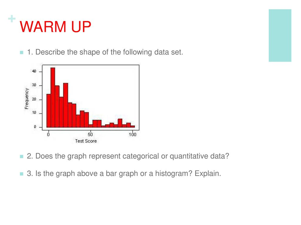 WARM UP 1. Describe the shape of the following data set.