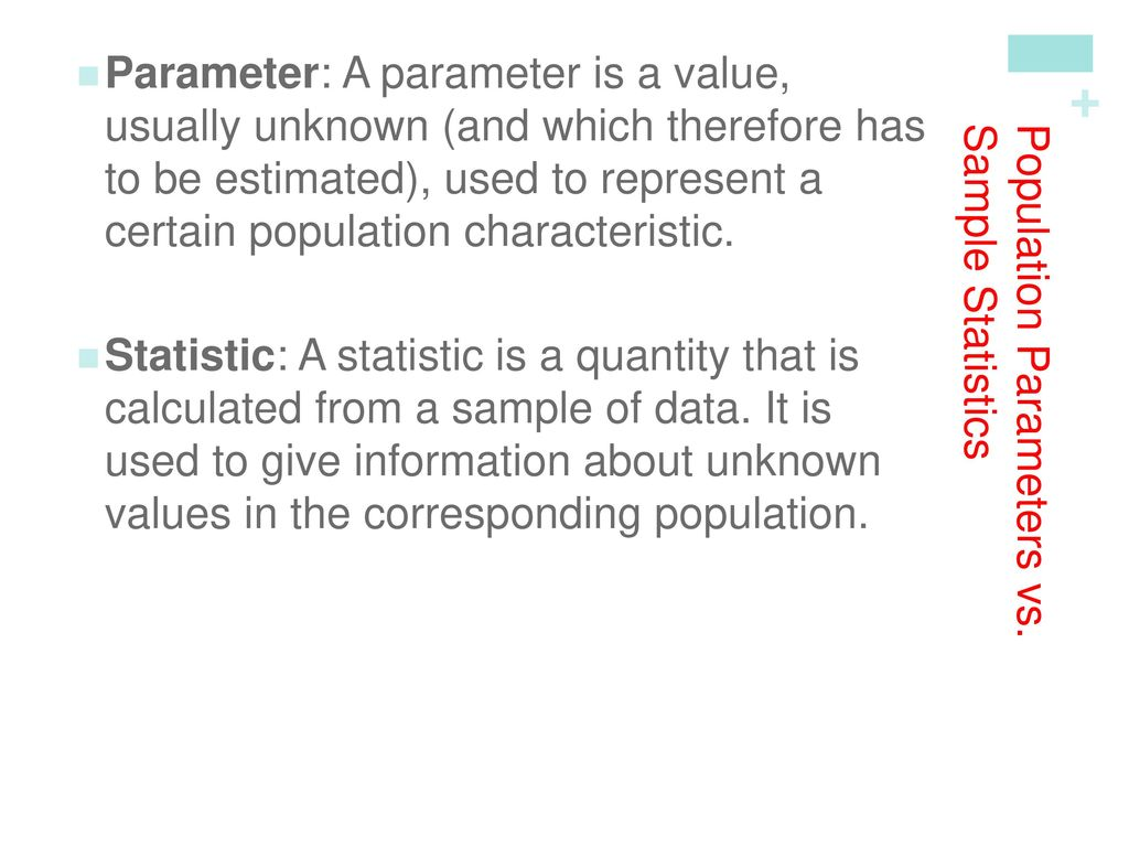 Population Parameters vs. Sample Statistics