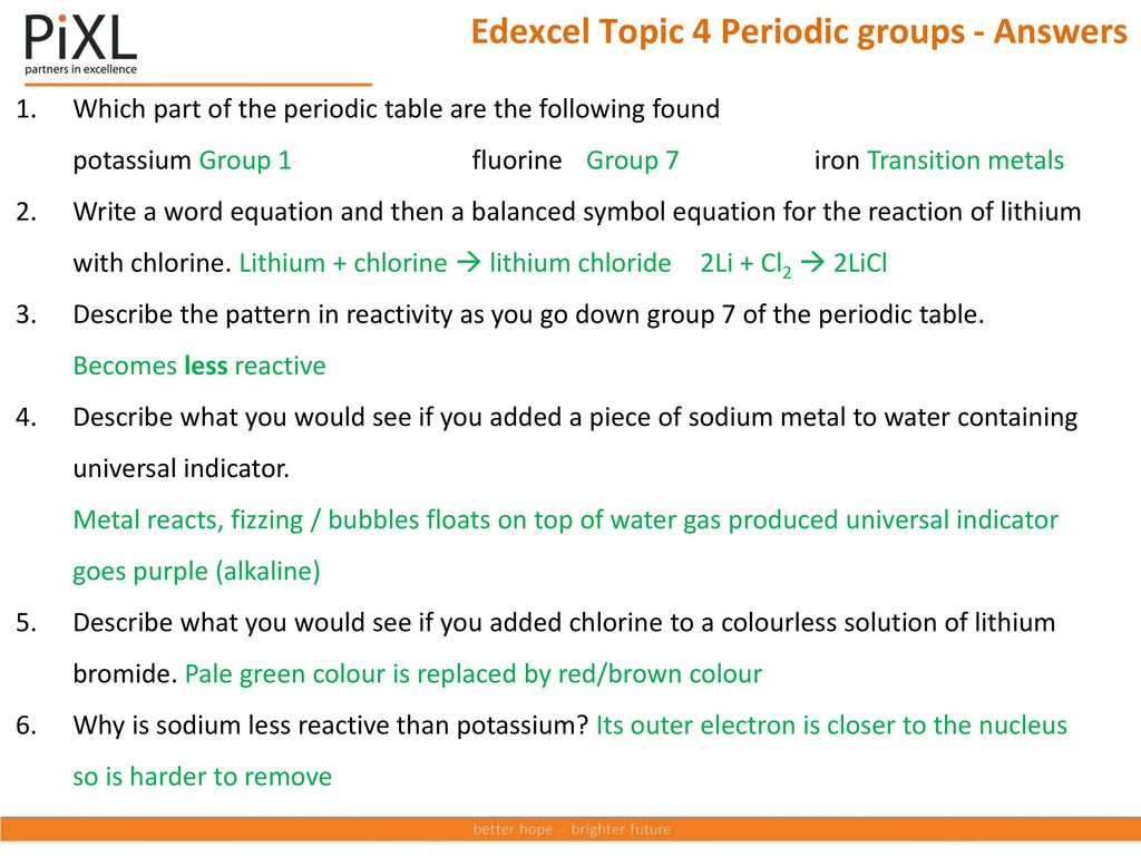 Edexcel additional science c 2 ppt download edexcel topic 4 periodic groups answers urtaz Choice Image