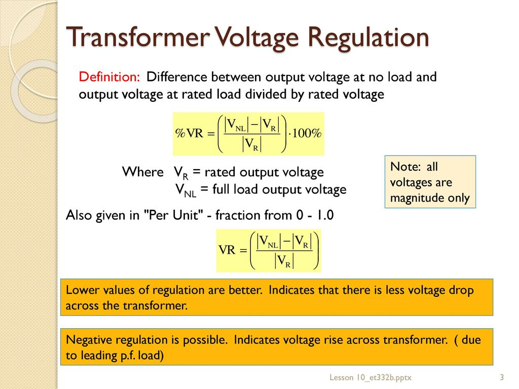 lesson 10: transformer performance and operation - ppt download