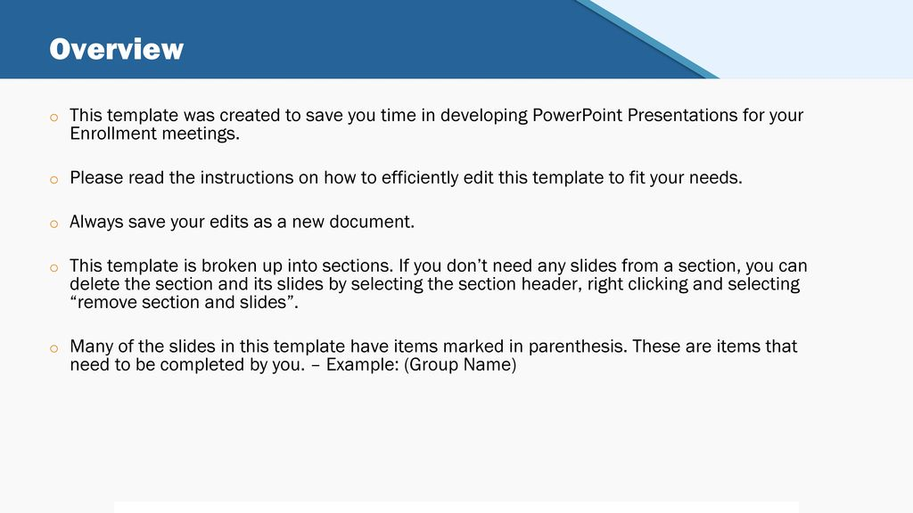 Renewal open enrollment meeting presentation template ppt download overview this template was created to save you time in developing powerpoint presentations for your enrollment toneelgroepblik Image collections